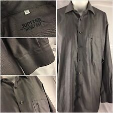 Jupiter Noblesse Dress Shirt 16 34 Gray 100% Cotton Made in Italy Mint YGI 9hh