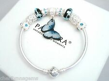 Authentic Pandora Silver Bangle Charm Bracelet with European Charms Butterfly