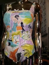 Rare Vintage PINUP GOTTEX 50's Pool Party Theme Swimsuit Size L��