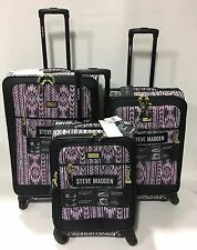 NEW STEVE MADDEN LUGGAGE 3PC BLACK LUGGAGE SET EXPANDABLE SPINNER WILD CHILD