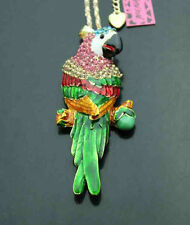 579#2     Betsey Johnson Crystal Enamel Parrot Pendant Sweater Chain Necklace