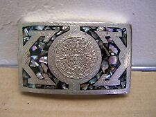 Sterling Silver Taxco Men's Belt Buckle with Aztec Calendar - Mexico