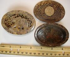 New Vintage India Hand Made Soapstone Trinket/Jewelry Boxes  ~ Circa 1980 ~