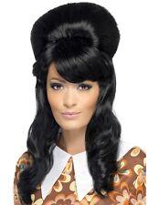 Anni '60 60 60 Brigitte Bouffant Costume Parrucca Nera Alveare nuovo da Smiffys