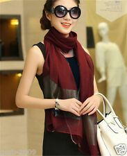 New Fashion Women's Wine Red 100% Silk Soft Long Stole Wrap Shawl Scarf Scarrves