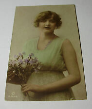 Lot107x - BRITISH BEAUTY Miss Constance Worth HAND PAINTED REAL PHOTO Postcard