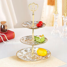 3 Tiers Fahion Cupcake Fruit Gold Stand with Crown Shaped Top Handle Fitting