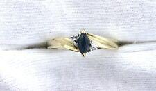 10Kt REAL Yellow Gold 6x3 Marquise Dark Blue Sapphire Diamond Gemstone Gem Ring