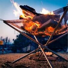 Camping Folding Stove Fire Frame Stand Wood Burning Grill Stainless Steel Net