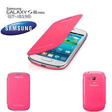 Original Samsung f i8190 Galaxy S3 Mini Flip Cover Case Tasche Akku Deckel Pink