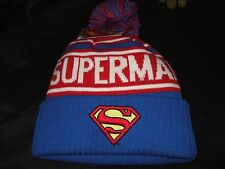 Adult DC Comics Superman Logo Man Of Steel Knit Pom Beanie Stocking Cap Ski Hat