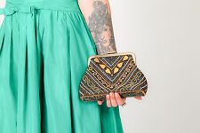 Beautiful Vintage blue brown gold art deco beaded evening bag / clutch