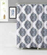 Tranquility Fabric Shower Curtain: Navy, White and Mauve Gray - Medallion Design