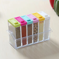 Set Of 6 Spice Shaker Seasoning Bottle Jar Condiment Storage Container