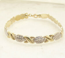 """7.25"""" Diamond Cut Hugs and Kisses Stampato Bracelet Real 10K Yellow White Gold"""