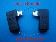PAIR 90degree left right angle micro USB B stecker to mini buchse winkel adapter