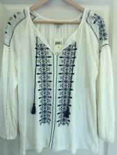 New Lucky Brand White Tapestry Embroidered Boho Festival Knit Top Size L $70