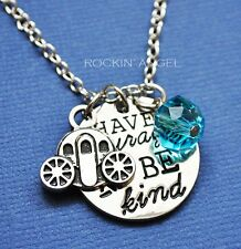 925 Silver Plt 'Have Courage & Be Kind' Cinderella Pendant Necklace Ladies Gift