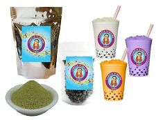 10+ Drinks Green Tea Latte Boba Tea Kit: Tea Powder, Tapioca Pearls & Straws