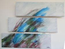 Peinture toile tableau abstrait Lanzarote Canaries triptyque horizontal