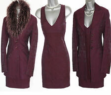 KAREN MILLEN Deep Plum Jacquard Dress & Jacket Set For All Seasons UK 8  EU 36