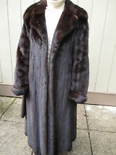 Beautiful Long Natural Classic Mink Dark Brown Range Fur Coat Belt M Medium