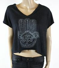 NEW URBAN OUTFITTERS TRULY MADLY DEEPLY AHIMSA YOGA GRAY CROP TEE SIZE SMALL
