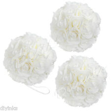 "3 Pack 9"" Kissing Ball Wedding Decoration Rose Pomander Ivory Flower Centerpiece"