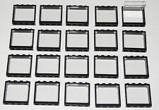 LEGO LOT OF 20 NEW 1 X 4 X 3 WINDOWS WITH BLACK FRAME FOR HOUSE CITY BUILDINGS