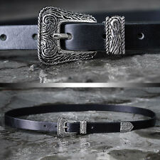 BytheR Men's Black Slim Urban Chic Silver Western Buckle Skinny Leather Belt