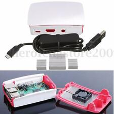 Protective Enclosure Case Box+USB Power Cable+Heatsink For Raspberry Pi3 Model B