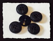 LOT 6 BOUTONS  NEUFS * 18 mm * 4 trous * Noir Mat imitation cuir * black button