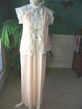 VICTORIAS SECRET Pale Pink Long Peignoir Set Size P Lingerie Nightgown Robe RARE