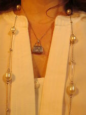 14 KT White Gold & Paspaley South Sea Pearl Bezel Set Station Necklace NEW LONG