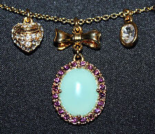 Juicy Couture TURQUOISE CABACHON Gold Tone Charm Necklace #YJRUSN17 **