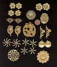 25 Vintage Russian Gold Plate MIRIAM HASKELL Floral Stampings Hask3