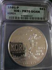 1991-P KOREA Silver Dollar $1 ICG PR70 DCAM  RARE- PCGS PRICE GUIDE LISTING $485