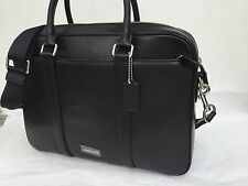 COACH MEN -BLACK Leather Slim Brief Briefcase Bag NWT $595