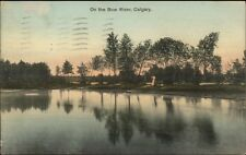 Calgary AB On the Bow River c1910 Postcard