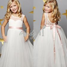Flower Girl Princess Kid Lace Party Pageant Wedding Bridesmaid Ball Gown Dress 6