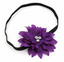 Zest Large Flower Head Band with Diamante Gems Purple