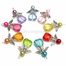 9Pcs Lots Angel Charms Pendants Faceted Acrylic Heart Bead Tibetan Silver Wings