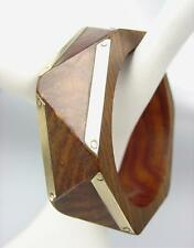 CHIC Urban Anthropologie Wood Brass Overlay Geometric 6 Sided Bangle Bracelet