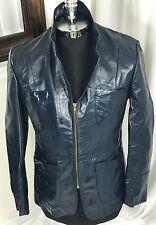 Vintage Men's Blue Leather Classic Jacket Size 38