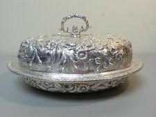 """VINTAGE KIRK """"REPOUSSE"""" STERLING SILVER COVERED VEGETABLE / ENTREE DISH"""