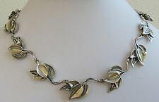 Cast sterling silver studio modernist garden link natural  leaf necklace 15 ""