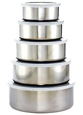 10 Pcs Stainless Steel Food Storage Containers Mixing Bowl Set W/ Air Tight Lids