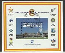 DOMINICA 2000 LORD'S CRICKET 100th CENTENARY TEST MATCH Souv Sheet USED