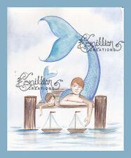 Sailors Merman & Son on dock print from Original Painting By Grimshaw mermaid