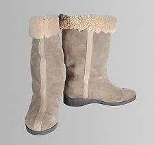 Hush Puppies Women's Brown Leather Suede Sherpa Lined Boots Size 10 M
